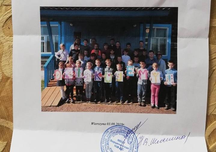 Podziękowania z Syberii